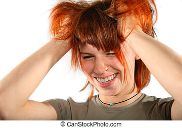 red hair woman with hands in hair