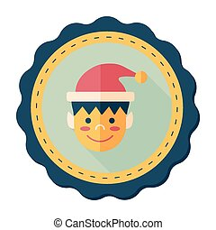 Christmas boy flat icon with long shadow,eps10
