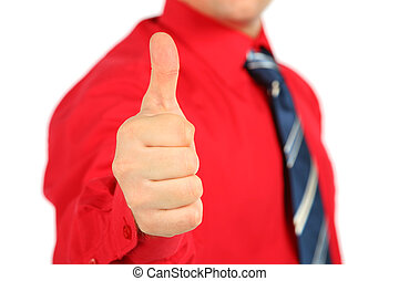 Businessman in red shirt makes gesture ok