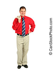 Businessman in red shirt