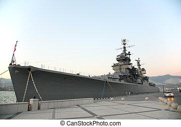 militar, barco, muelle