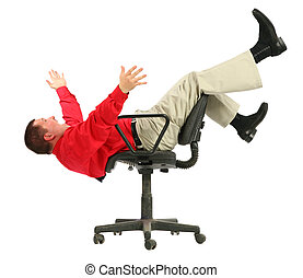 Businessman in red shirt falls from chairs upside dow