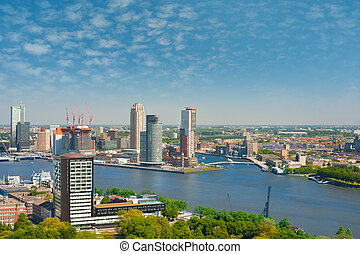 Rotterdam and Nieuwe Maas river - A view on Rotterdam and...