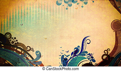 Grunge paper background with abstract patterns.