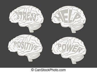 Vector illustration of human brains with messages