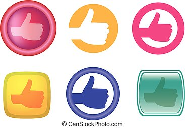 Hands with thumb up gesture web icons and buttons - Vector...