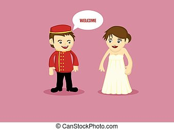 Friendly Hotel Bellboy at Work - Vector illustration of a...