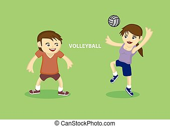 Sporty Couple playing volleyball
