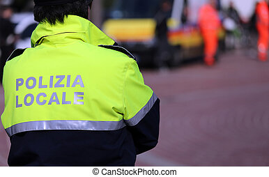 Italian policeman of local police check the city - robust...
