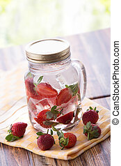 Strawberry infuse water - A mineral water with ice and...