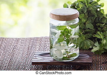 Mint Infuse Water - A potrait of a glass of mint infuse...