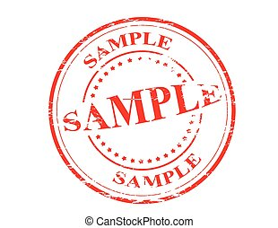 Sample - Stamp with word sample inside, vector illustration