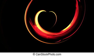 Fiery Red Dynamic Heart - Abstract blazing red heart forming...