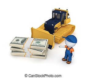Yellow bulldozer - Yellow bulldozer and big stack of dollars...