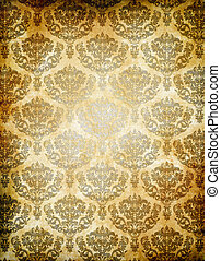 Old grunge paper background with floral european patterns.