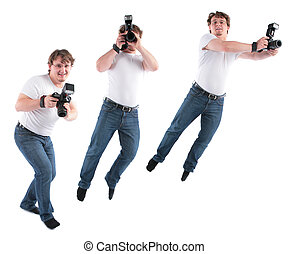young man goes and jumps with  camera