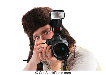 russian photographer in fur hat