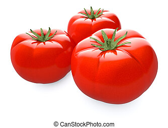 tomatoes - close up view of three red tomatoes (3d render)