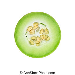 Honeydew melon sliced in half isolated on white.
