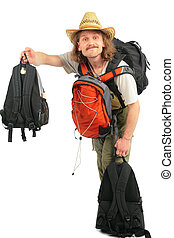 Man with backpacks in straw hat