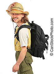 Traveller with backpack in straw hat
