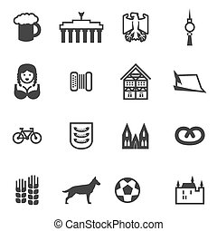 Set of icons with signs of Germany and Berlin Set include...