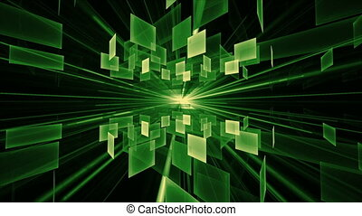 Green Cubes in Rotation, Geometrica - green cubic...