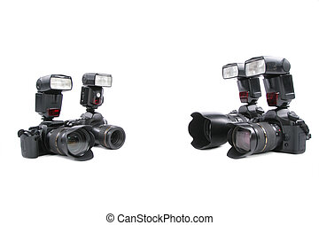 Cameras with flashes on white background
