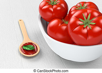 tomatoes and sauce - close up view of a bowl with red...