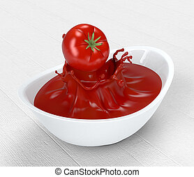 tomatoes and sauce - one red tomato falling on a bowl with...