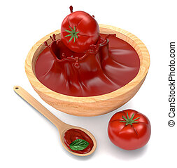 tomatoes and sauce - red tomatoes, a spoon, a bowl with...