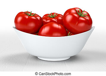 tomatoes - red tomatoes on a bowl (3d render)
