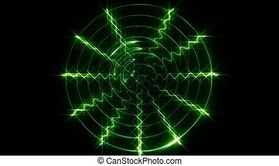 The green display oscilloscope - A current through the green...