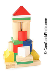 Building from toy wooden cubes
