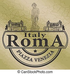 roma stamp - background with text roma on vector...