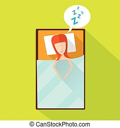sleeping woman vector illustration girl sleep in bed