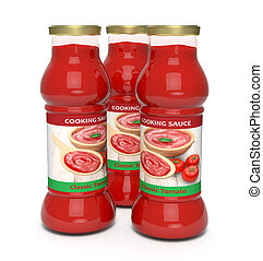 tomato sauce - front view of bottles of tomato sauce (3d...