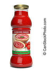 tomato sauce - front view of a bottle of tomato sauce 3d...