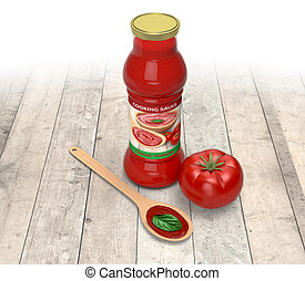 tomato sauce - bottle of tomato sauce with a tomato, a spoon...