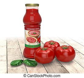 tomato sauce - bottle of tomato sauce with tomatoes and...