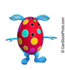 Easter bunny with walking pose - 3D illustration of Easter...