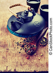 Asian teapot and two cups - Still Life with Asian teapot and...