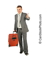 businessman with luggage shows ok gesture