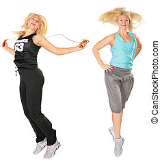 Sport blond makes exercise