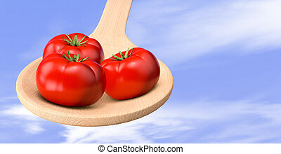 tomatoes - red tomatoes in a wood spoon with sky on...