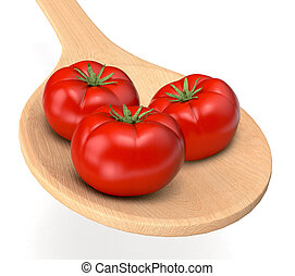 tomatoes - red tomatoes in a wood spoon 3d render