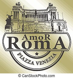 roma amor stamp - background with text roma amor on vector...