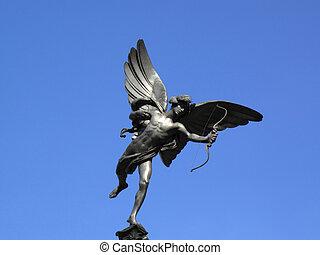 Eros - The aluminium statue of Eros, London, England, UK,...