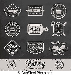 Vintage bakery badges, labels and logos on chalkboard...