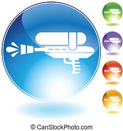 water gun icon crystal isolated on a white background